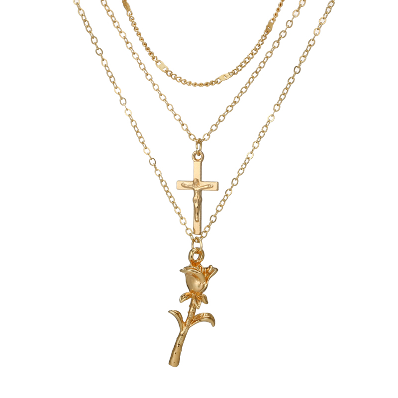 docona Vintage Gold Color Cross Rose Flower Pendant Necklaces for Women Girl Floral Layered Necklace Bohemia Jewelry 4418 2