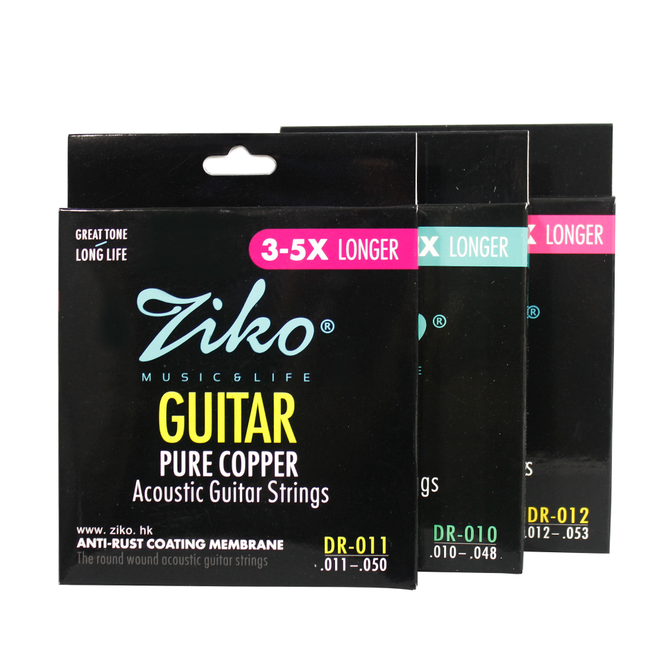 ZIKO DR Series 010-048 011-050 012-053 Inch Acoustic Guitar Strings Pure Copper Wound Strings Anti-Rust Coating Membrane gibson seg 700ml brite wires nps wound 011 050