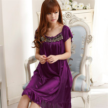 Enteros Long Lace Nightgown Women Summer Purple Embroidery Women's Sleep Lounge Nightgowns Sleepshirts