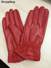 2019 damskie oryginalne skórzane rękawiczki czerwone rękawice z owczej skóry jesienne i zimowe modne damskie wiatroszczelne rękawice cienkie podszewki tanie tanio HARPPIHOP WOMEN Koral polar Prawdziwej skóry Poliester Dla dorosłych Stałe Nadgarstek Moda jianhuashout