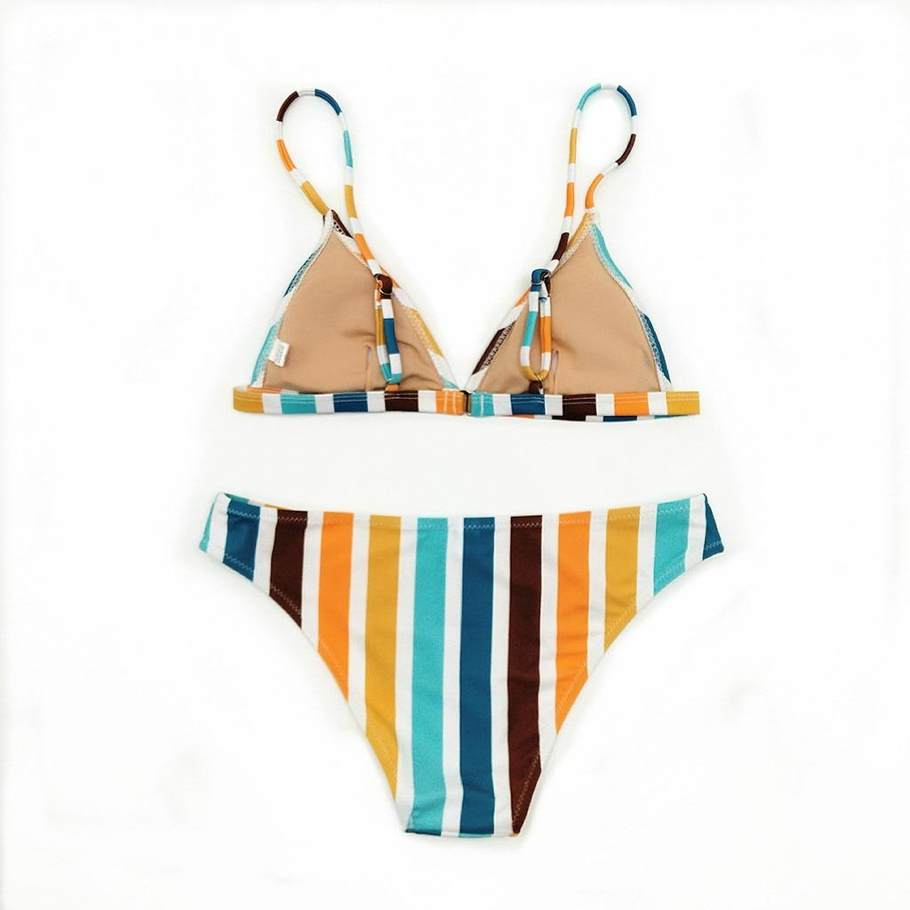 LIVA GIRL sexy women high waist two-piece beach swimwear fashion bikini set push-ups bra vertical stripes quick-drying swimsuit