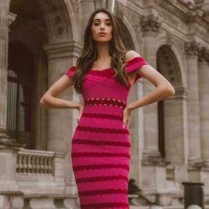 cc9e14bd282 celurvei Pink Striped Bandage Dress Party Bodycon Dress