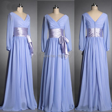Vestidos New Arrival Real made bridesmaid dress 2015 Chiffon V Neck Long sleeve bridesmaid dresses Plus size Custom Bridal Party