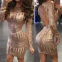 MONERFFI Sexy Backless Gold Sequin Women Dress Long Sleeve B