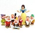 8 unids/lote 5-7 cm PVC Princcess Blancanieves Siete Enanitos Figuras de Acción de Dibujos Animados en 3D Juguetes Set para Niños Niñas de Navidad de Regalos
