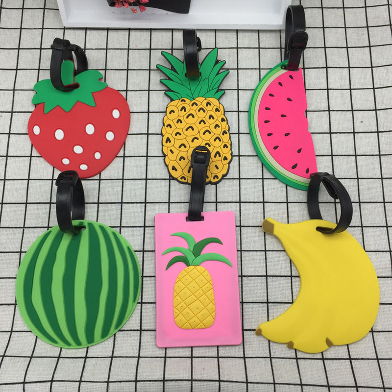 1PC Fruits Travel Accessories Creative Luggage Tag Silica Gel Suitcase ID Addres Holder Baggage Boarding Tags Portable Label