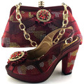 Shoes and Bag Wine Color Italian Shoe with Match Bag African Shoes and Bags Matching Set Women Shoe and Bag To Match for Parties