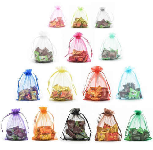 25Pcs /Lot Mesh Sheer Organzar Wedding Party Favor Gifts Candy Storage Bags Jewelry Pouches Drawstring Bag Container