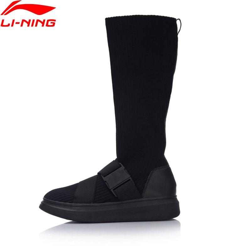 Li Ning Women Sock Shoes Sports Life Series Walking Shoes Slim Breathable Stretch Fabric Li Ning Sports Shoes Sneakers GLKM108