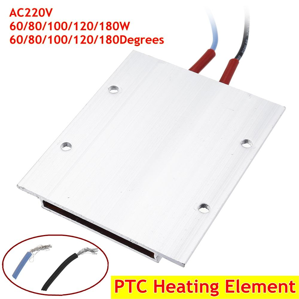 220V  60/80/100/120/180Degrees Constant Temperature Ceramic Aluminum Heater PTC Heater  PTC Heating Element Shell 77*62mm