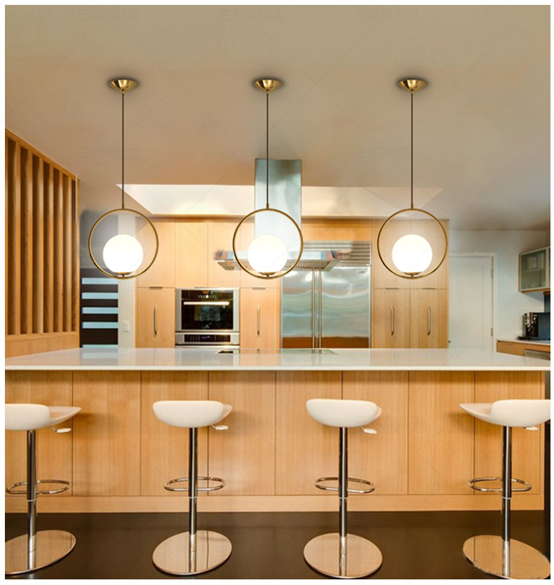 Nordic Pendant Lights Glass Ball Pendant Lamps Round Globe Hang Lamp