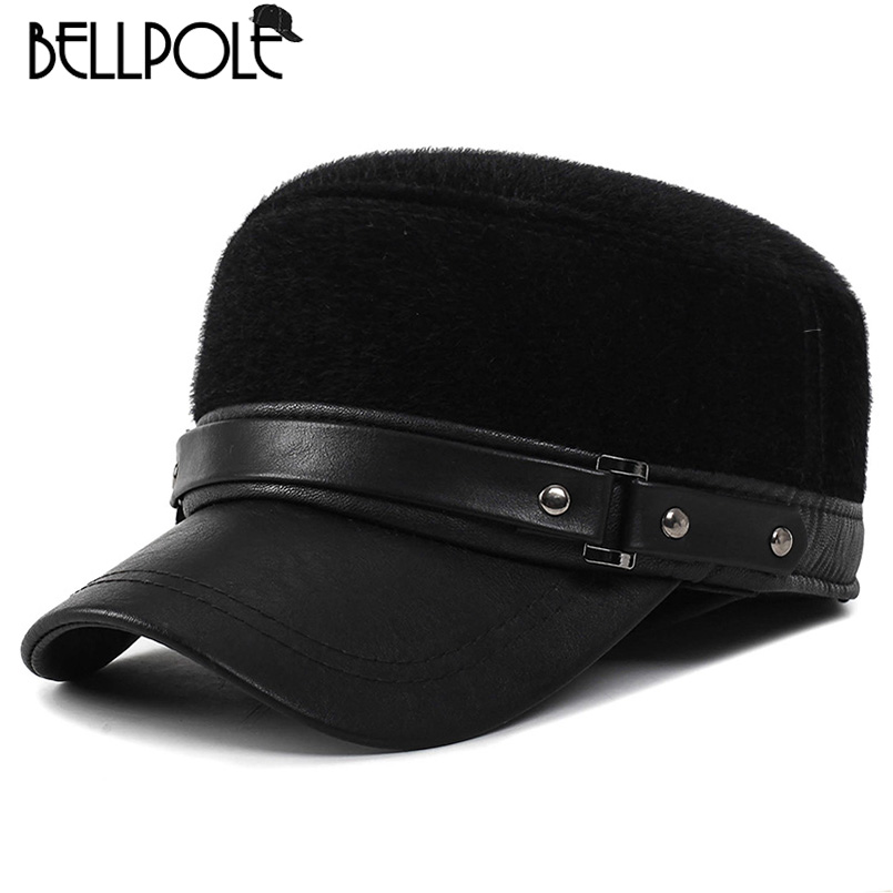 BELLPOLE Brand 2017 New Winter Hats for Men Military Cap with Ear Flaps Army Sailor Captain Caps Dad Hat