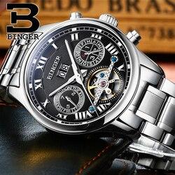 Szwajcaria BINGER mężczyzna zegarków luksusowych marek Tourbillon sapphire luminous wiele funkcji mechaniczne zegarki na rękę B8602-4