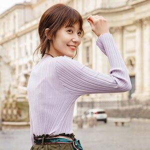 Image 3 - אינמן אביב סתיו עגול צווארון Stripped כושר נשים ארוך שרוול לסרוג סוודר חולצות