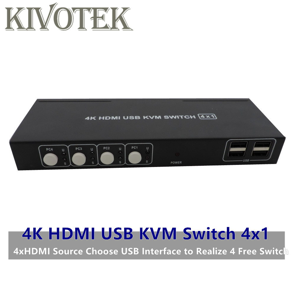 4K HDMI KVM USB Switch Switcher Adapter 4x1 3D Full HD 1080P Usb Hdmi Female Connector For PCS Laptop DVD PS3 HDTV Free Shipping-in Computer Cables & Connectors from Computer & Office