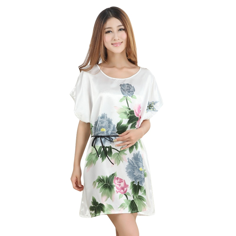 JLONG Fashion Chinese Style Women Nightgown Sexy Print Sleepwear Lady Peony Robe Bath Gown Nightwear Mini Dress