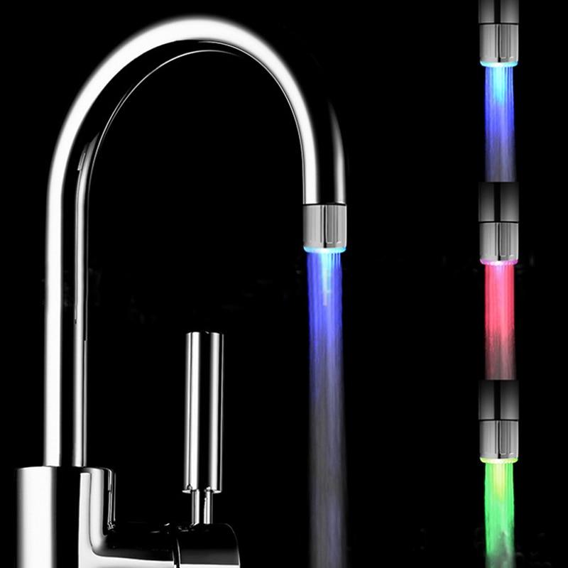 New 1pcs Kitchen Faucet LED Shine Shower Faucet RGB Color Hydroelectric Power Romantic Shower Head Multiple Modes Selectable