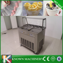 Hot sale Stainless steel customized 2 pans with 5 cooling food tanks fried ice cream machine 110v /220v