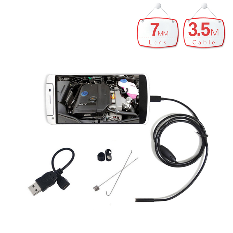 Handheld 7mm Lens 6LED PC Android Endoscope with 3.5m Cable Waterproof Inspection Borescope Endoscopy for Android Phone PC hd 8mm lens waterproof pc android endoscope with 1m 2m 3 5m 5m cable handheld inspection borescope for android phone pc tablet