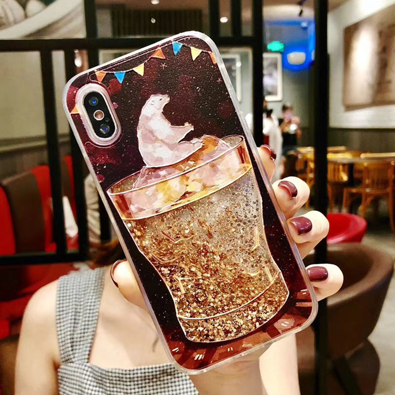 Lovebay Quicksand Case For iPhone X 7 8 Flamingo Phone Cases For iPhone 6 6s Plus XR XS Max Bling Dynamic Love Hearts Back Cover