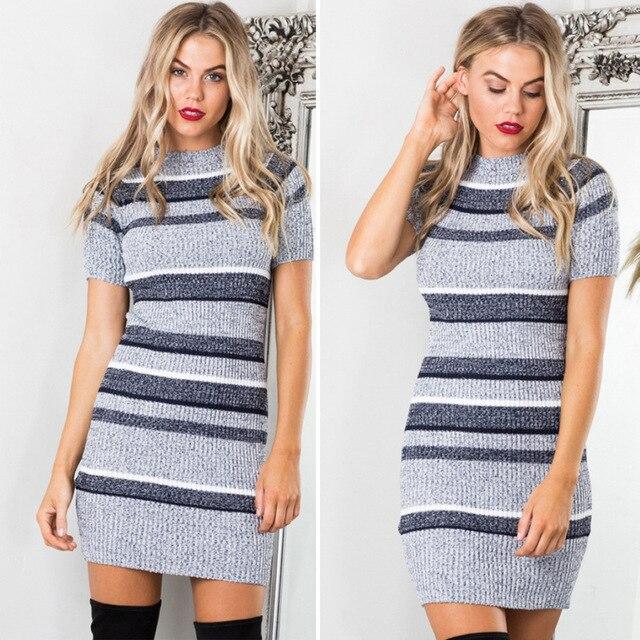 2017 новая мода высокого качества женщин осень повседневная о-образным вырезом с коротким рукавом упругие трикотажные полосатый трикотаж пуловеры свитера платье