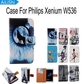 Funda de piel con tapa de dibujos animados AiLiShi con ranura para tarjetas estilo libro Funda de cuero PU de moda para teléfono para Philips Xenium w536