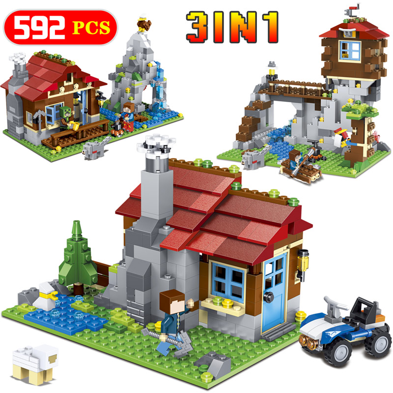 My World Mountain Building Blocks Lodge Mine World Technic Construction Toys Compatible LegoINGlys Minecrafter Toy For Kid lele my world power morse train building blocks kits classic educational children toys compatible legoinglys minecrafter 541 pcs
