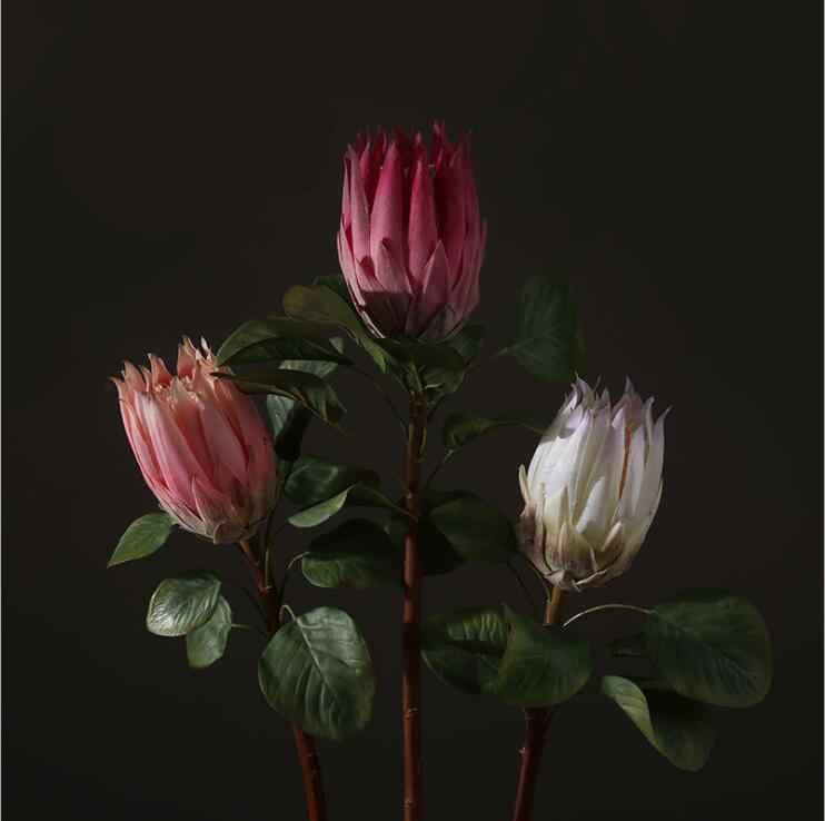 Grandes fleurs artificielles de luxe en soie protéa Cynaroides, fausses fleurs, pour décorer une couronne de plantes florales