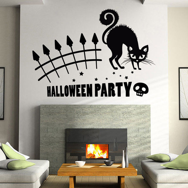 Halloween Party Cat Mural Removable Wall Sticker Art Vinyl Decal - Vinyl wall decals home party