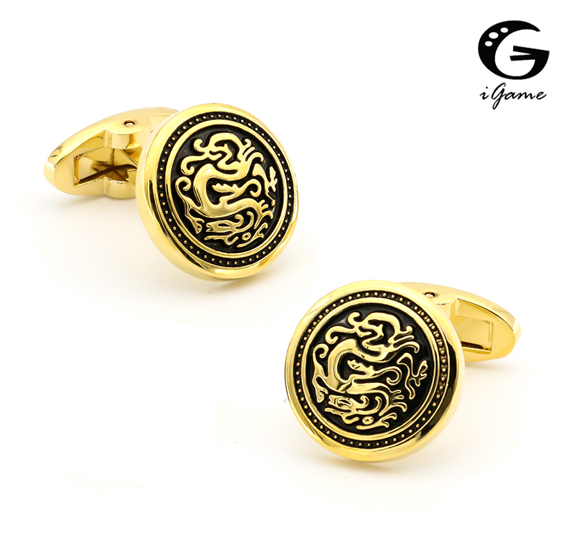 iGame Factory Supply Dragon Cuff հղումներ Vintage Series Retro Animal Design Design Quality Brass Material Cufflinks Free Shipping