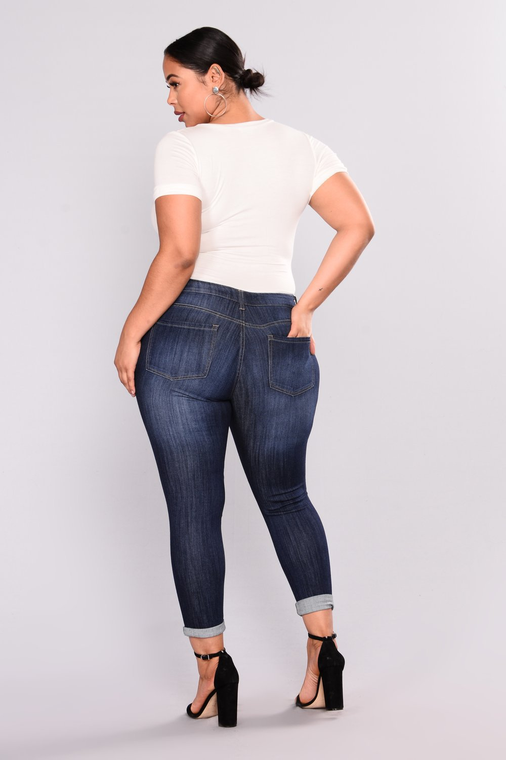 Skinny Jeans Rip Butt Lift Plus Size Mid Waist Destroyed