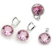 SHUNXUNZE jewelry sets for women Hot Pink Purple light blue Rainbow Cubic Zirconia Silver Plated R145set R487set R735set R748set
