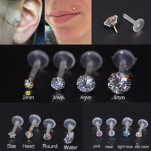 Piercing de lábios labret, 1 peça de piercing de zircônio tragus, cartilagem bioplástica, flexível, joia de piercing de lábio labret, 16g