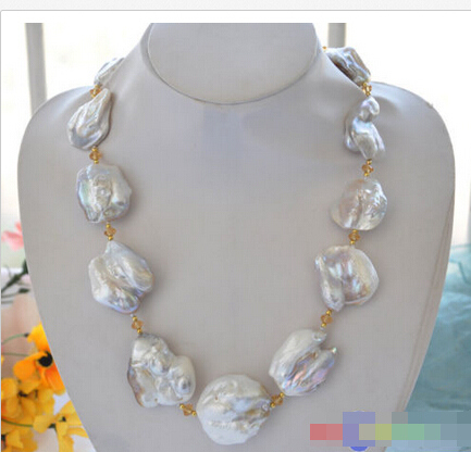 Free shipping@@@@@ HUGE nature 42mm baroque white KESHI REBORN PEARL NECKLACE 23inch цена и фото