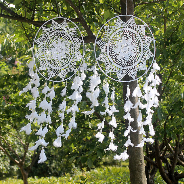 beautiful wind chimes white garden hanging decorations indian dream catcher with feathers hanging decoration decor craft - Garden Hanging Decorations