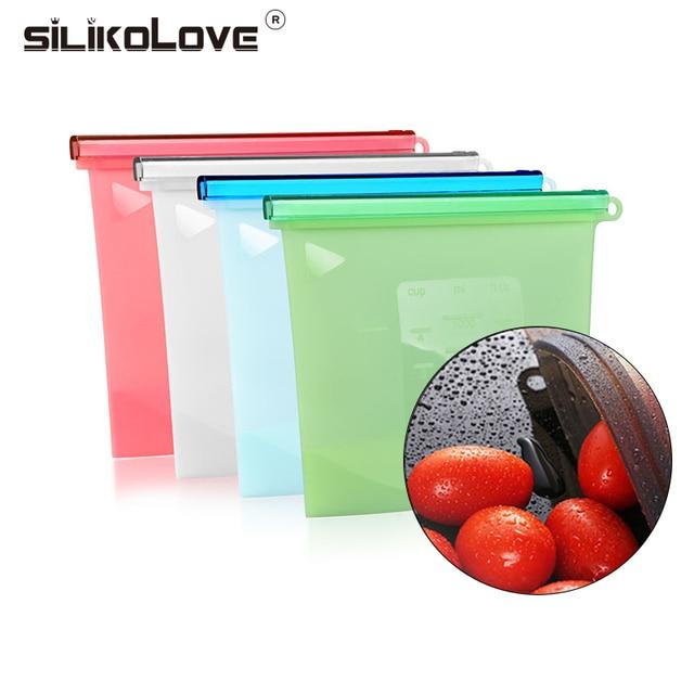Silikolove Home Food Grade Fresh Freezer Bag Kitchen Reusable Multifunctional Scaled Vacuum Silicone Storage Bags Slide