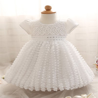 Boutique Outfits Girls Dresses Summer 2016 Baby Girl Dress White Lace With Mesh 3D Clothing Kids