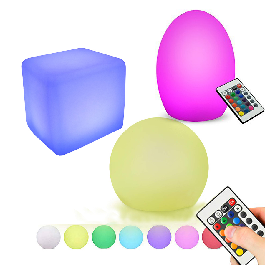 Thrisdar Dimmable LED Cube Bedside Night Light 16 Color Changeable Egg Shape Restaurant Hotel Coffee Shop KTV Bar Table Lamps