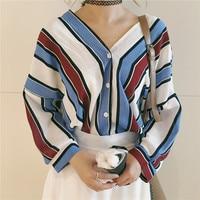Summer casual women shirts three quarter sleeve loose striped v neck korea bats blouse shirt blue.jpg 200x200
