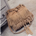 2017 Fashion Women's PU Leather Suede Weave Tassel Shoulder Bags Bucket Bags Ladies Messenger Bag Fringe Handbags Bolsa Feminina