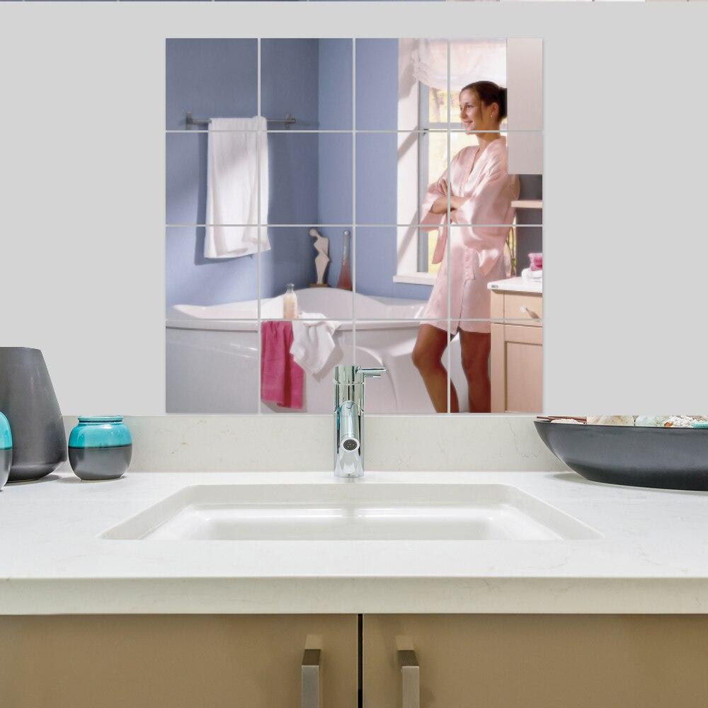 9 stücke 3D Quadratischen Spiegel Fliesen Wandaufkleber Bad Spiegel ...