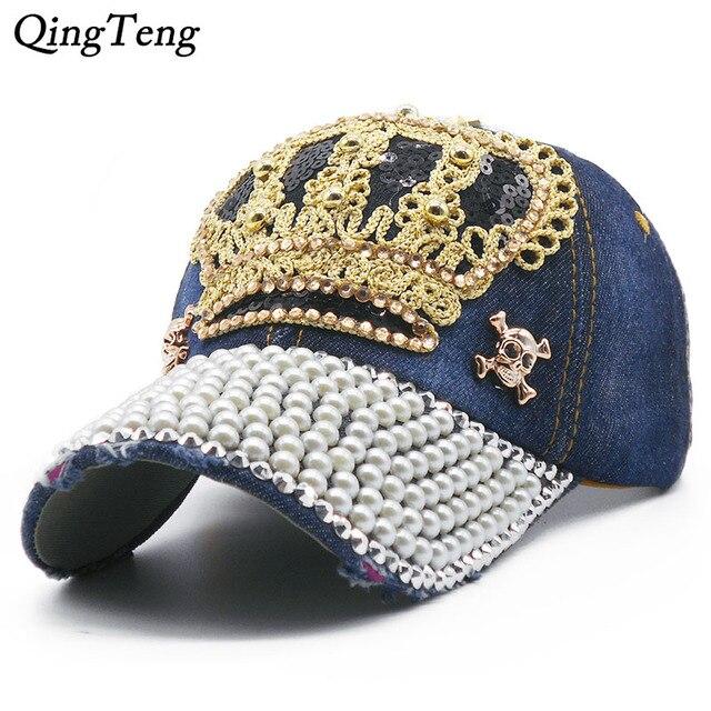6c9ad322f688 Luxury Women Baseball Cap Brand Bling Crown Pearl Sequins Hip Hop Cap  Vintage Denim Snap Back