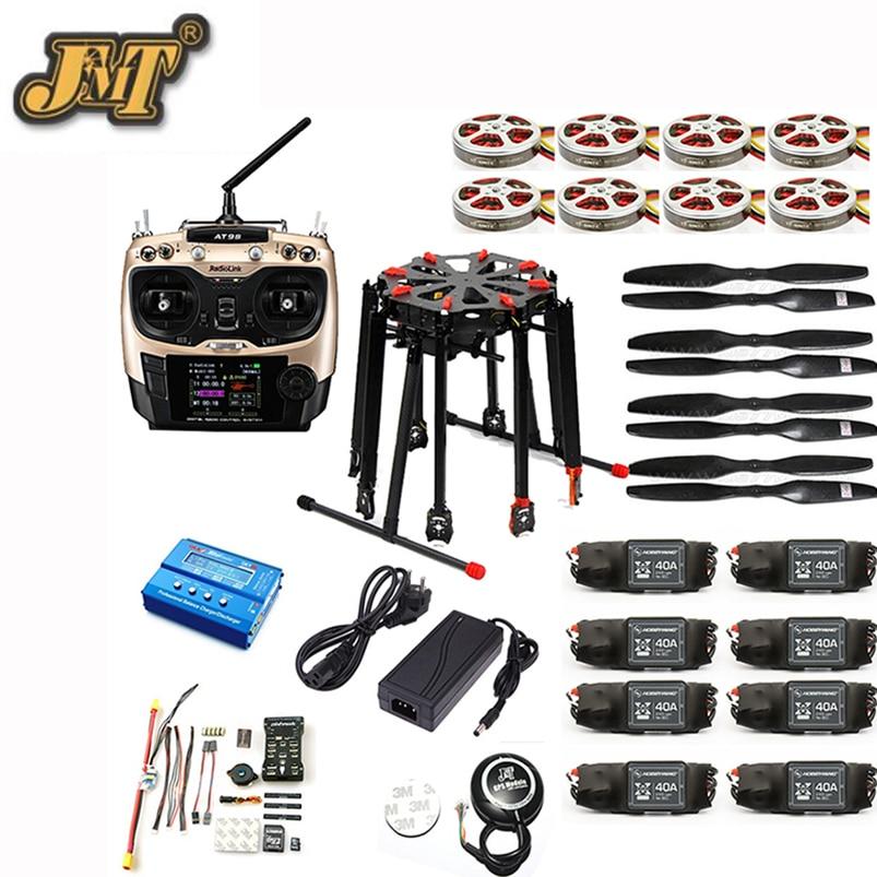 JMT DIY GPS Drone Tarot X8 TL8X000 8-Axle Folding Frame 350KV 40A PX4 32 Bits Flight Controller Radiolink AT9S Transmitter f11270 tarot x8 8 aixs umbrella type folding multicopter uav octocopter drone tl8x000 with retractable landing gear