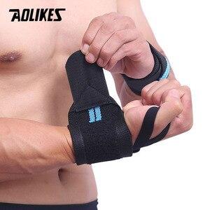 Image 5 - AOLIKES 1 זוג צמיד יד תמיכה משקל הרמה כושר אימון יד תמיכת Brace רצועות כורכת קרוספיט הרמת כוח