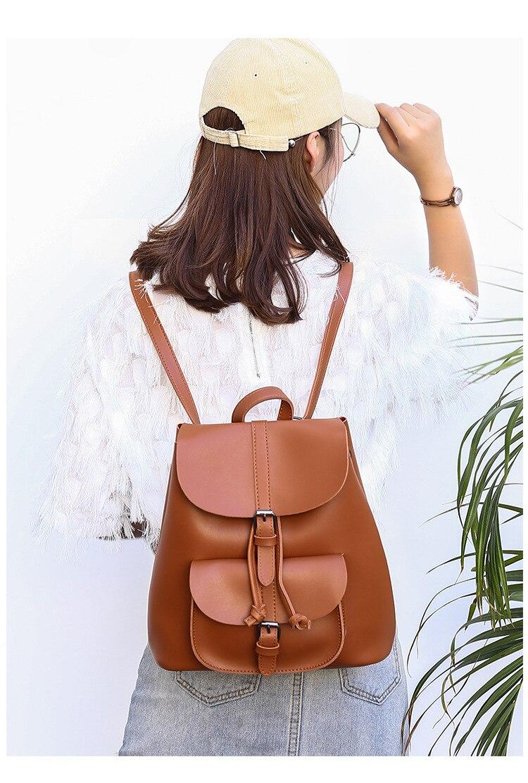 HTB16NQzbffsK1RjSszgq6yXzpXa4 Pocket PU Leather Women Backpack Female Retro Designer Schoolbag for Teenagers Girl's Casual Large Travel Bag Laptop Backpack