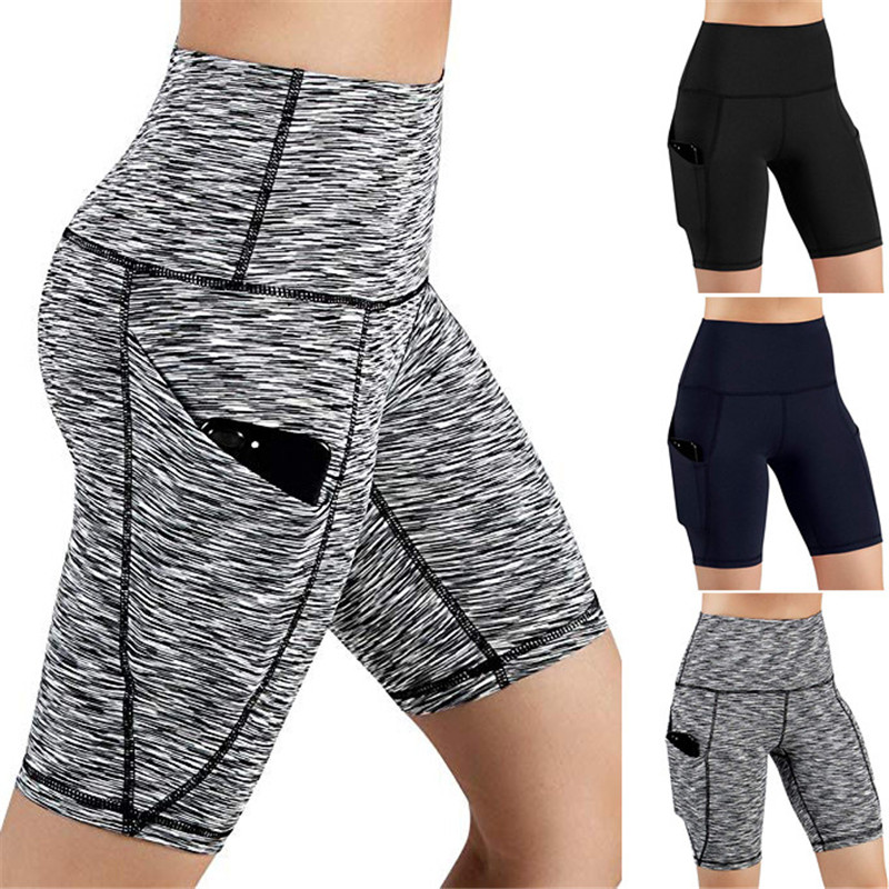 Summer Sport   Short   Women High Waist Out Pocket   Short   Running Athletic   Shorts   Lady Solid Pencil England Style