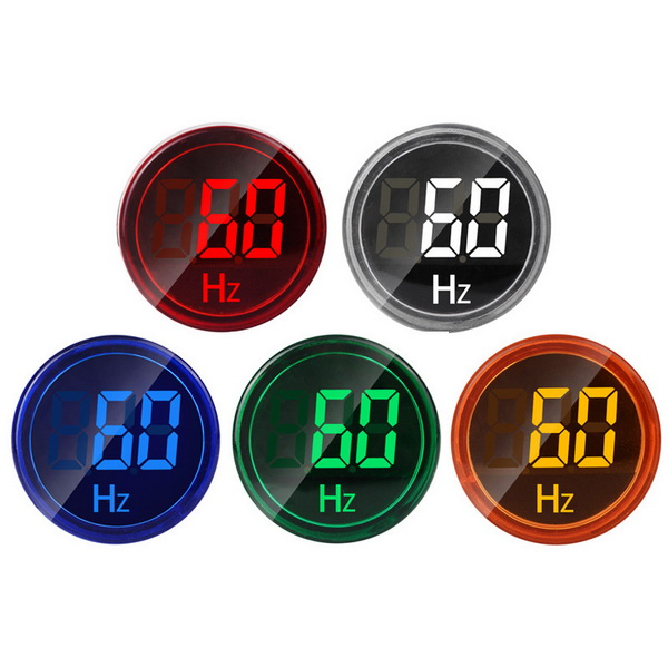 DHL 100pcs 22mm LED Digital Display Electricity Hertz AC Frequency Meter Indicator Signal Lights Tester Measuring