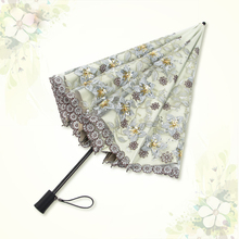Top-grade Mini Umbrella Rain Women Windproof Parasol Anti-UV Portable Travel Elegant Embroidery wedding
