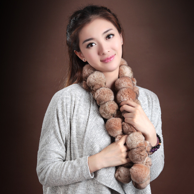 2016 Brown Fur Scarves 38 Balls Wrap Handmade Genuine Rex Rabbit Fur Scarf Ladies Warm Winter Scarf Fashion Shawls WJ004