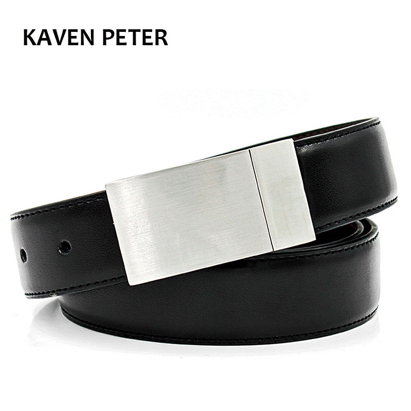 Genuine Leather Luxury Strap Male Plain Belts Buckle For Trousers Reversible Belts Men High Quality Cow Belt 3.5 cm Width